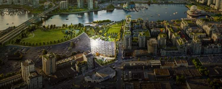 Aerial view of Area One's Southeast False Creek location.