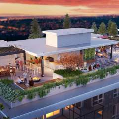 Duet New Presale Condo in West Coquitlam Patio with view rendering
