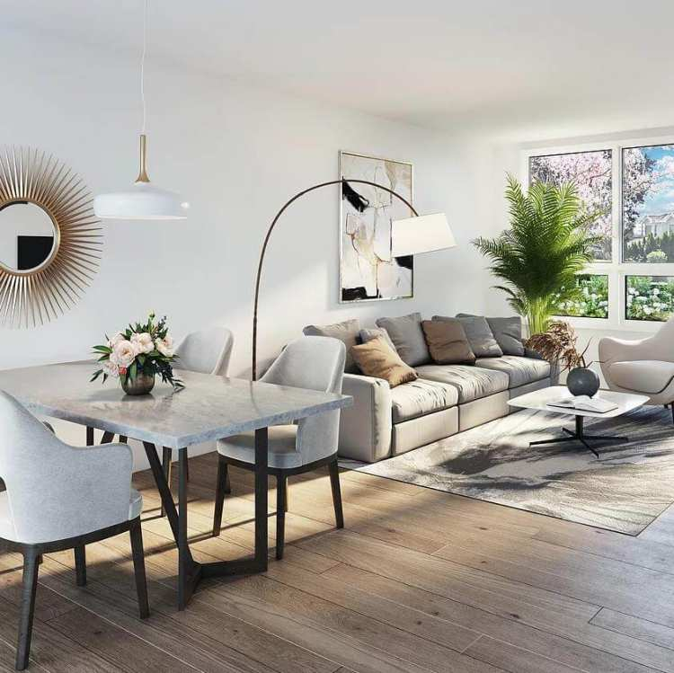 Rendering of Artesia townhouse living room space on Vancouver's West Side