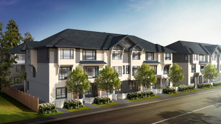 Langley City new townhomes photo of front view of building