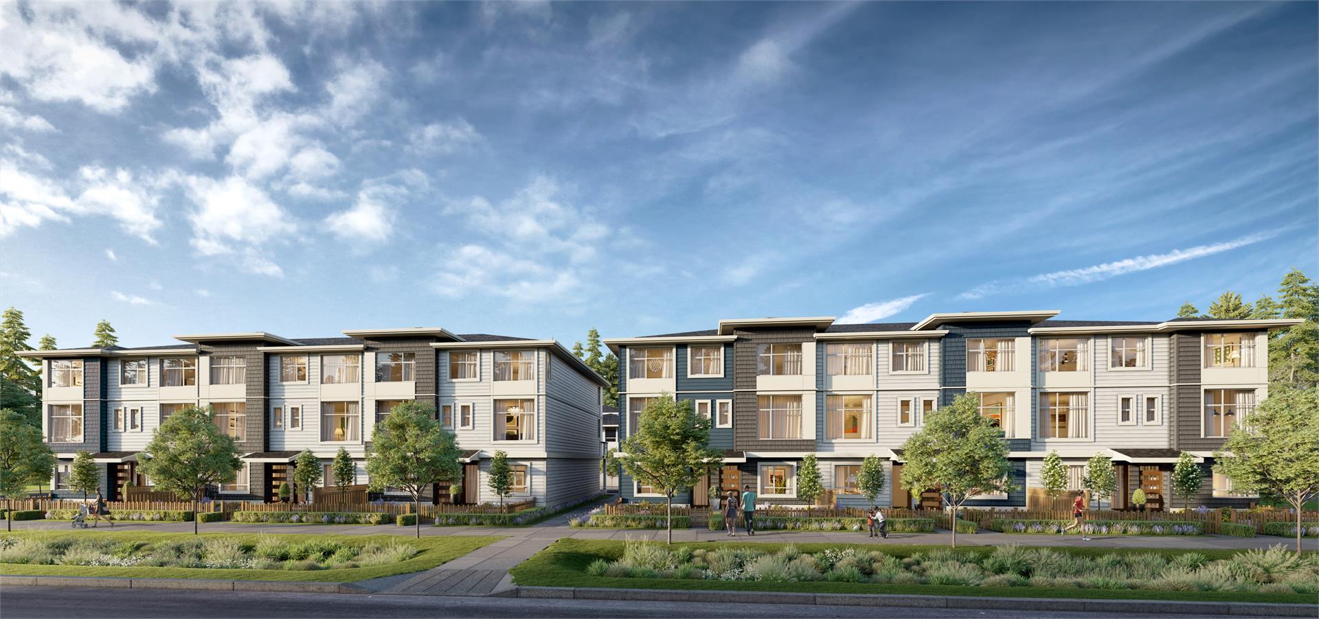 New Surrey Development Front View Of Townhouse Development