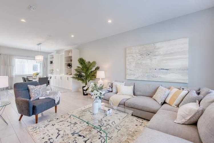 Living room rendering of new Surrey townhome presale