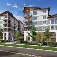 Front view of new condo building in delta bc called Delta Gardens