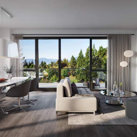 Rendering Of Voyce Living Area Vancouver West Side