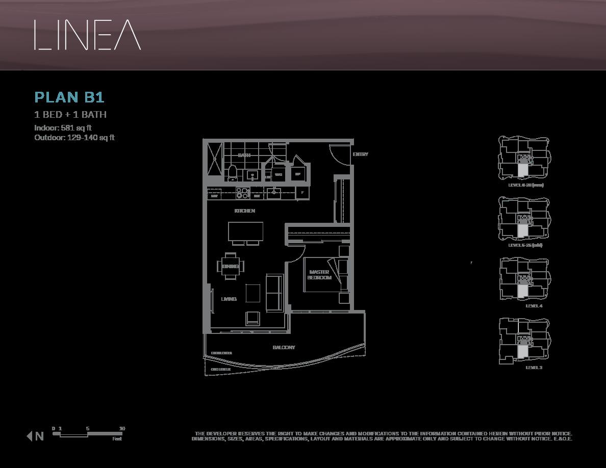 Linea Surrey Floor Plans 1 Bedroom