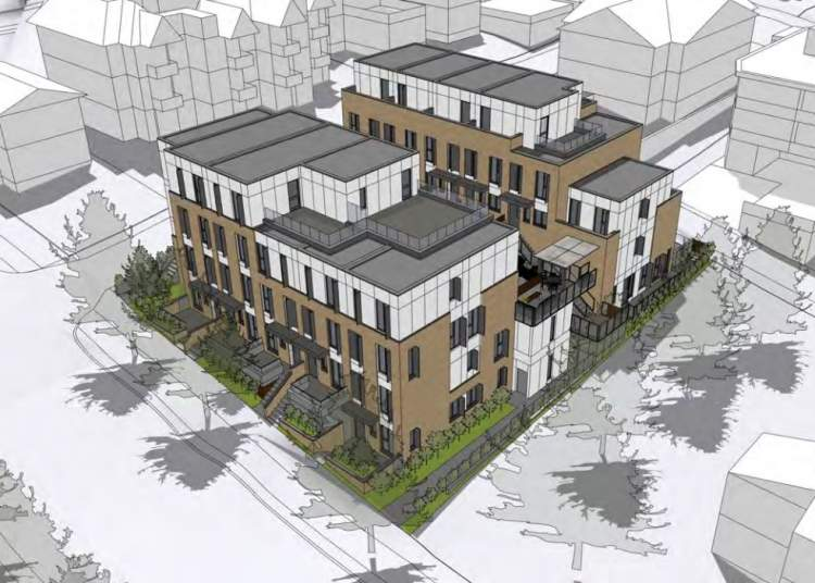 East Vancouver birds eye view of new townhomes