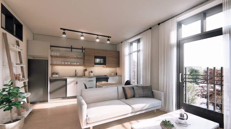 Ironworks condos living room - new Victoria condos