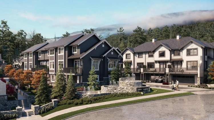 Rendering of Forester luxury townhomes at Burke Mountain