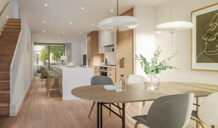 Rendering of living room of Just West development in Vancouver's West Side