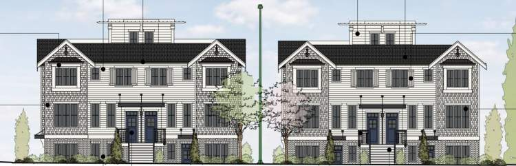 Drawing of new townhomes on West 49th and Fremlin on Vancouver's West Side