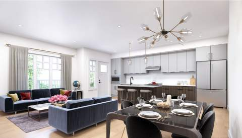 Rendering Of Living Room & Kitchen Of Sophia Living Development - Port Moody New Condos