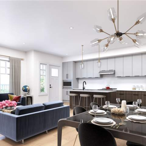 Rendering Of Living Room & Kitchen Of Sophia Living Development - Port Moody New Condos