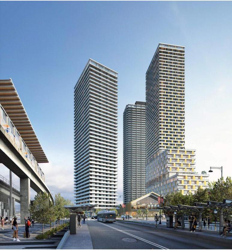 Rendering Of 3 New Condo Towers In Surrey