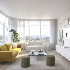 Rendering of Telford new condos living room at Metrotown