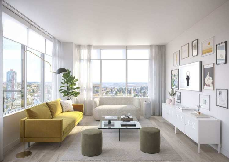 Rendering of Telford new condos living room at Metrotown
