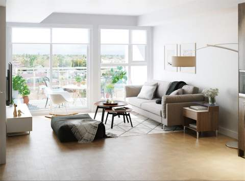 Rendering Of Living Room For New Condos On Main&20th Vancouver East