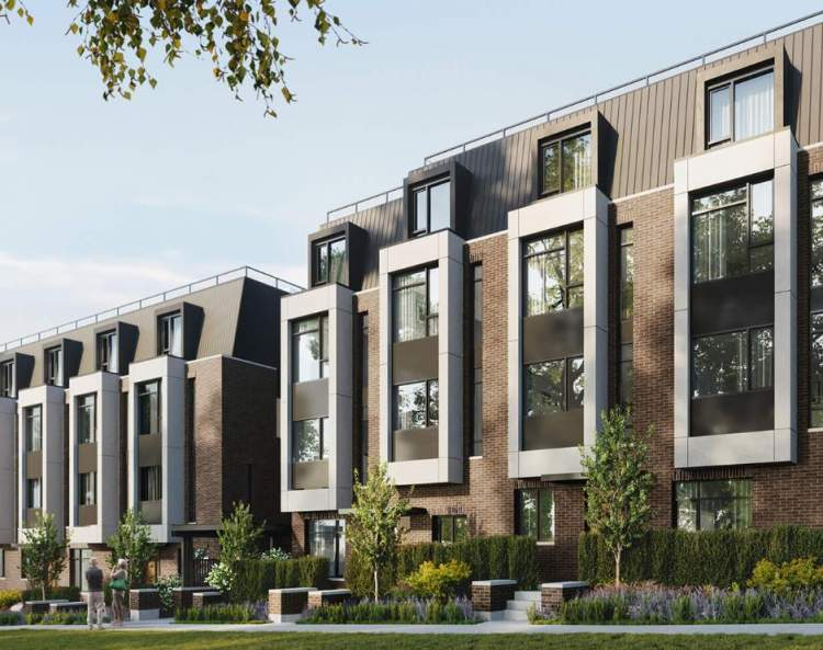 Perron Townhomes - rendering of front of buildings