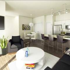 Rendering of living area at Parkview Burnaby