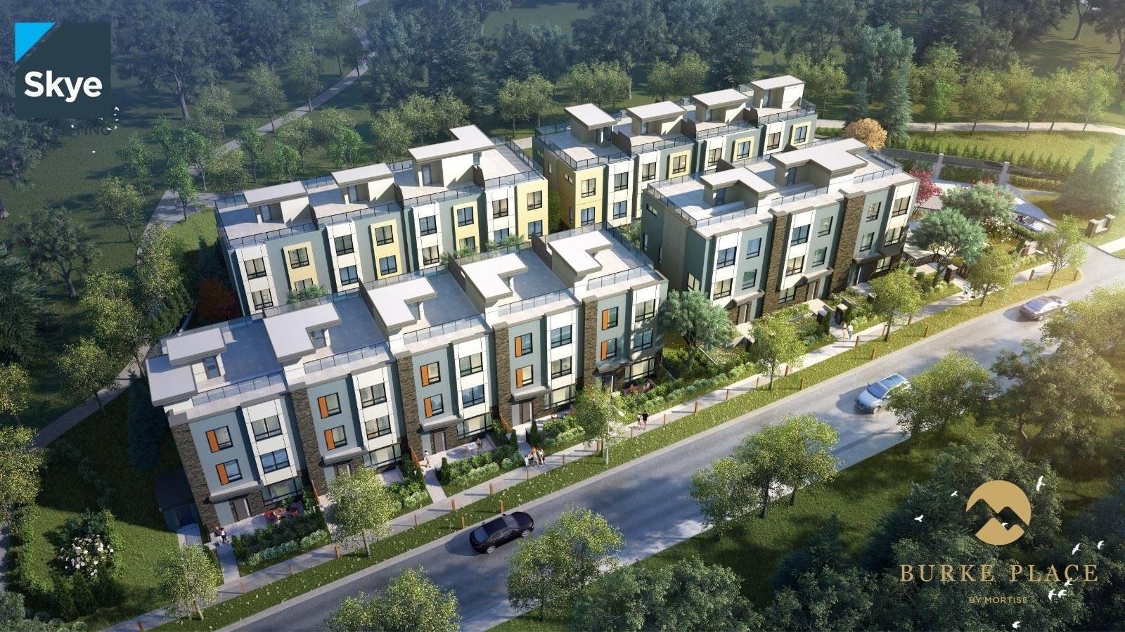 Aerial View Of Burke Place Townhomes In Coquitlam