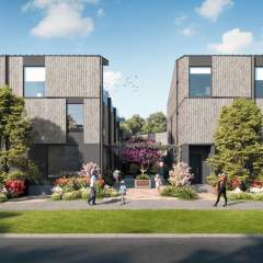 Rendering of front view of Rhodo townhomes in Victoria