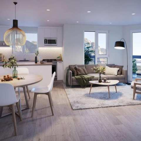 Rendering Of Living Space At Lizzy Bay Homes Squamish