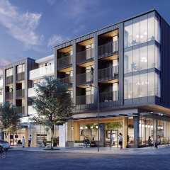 Rendering of front of new development, Habitat in East Vancouver