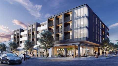 Rendering Of Front Of New Development, Habitat In East Vancouver