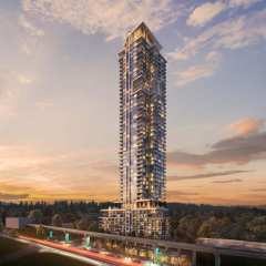 Rendering of Highpoint at twilight in Coquitlam
