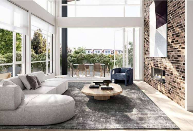 Rendering of Light House living room space in New Westminster