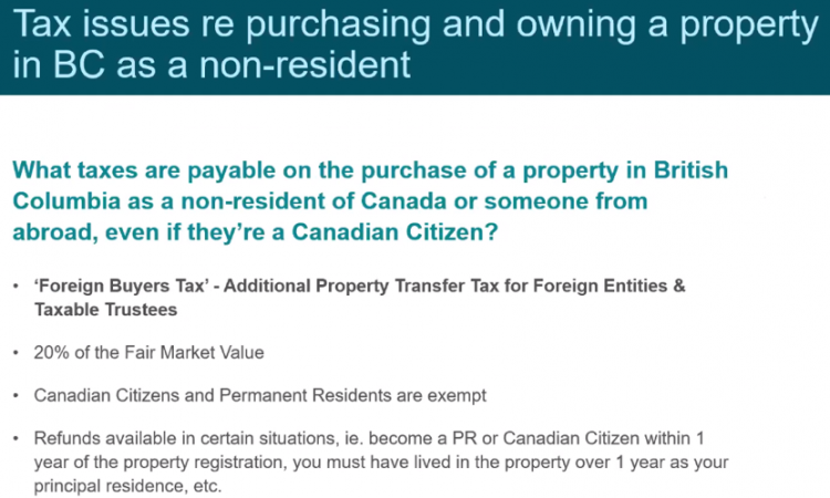 Tax issues re purchasing and owning property in BC as non-resident