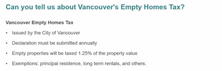 Vancouver empty homes tax