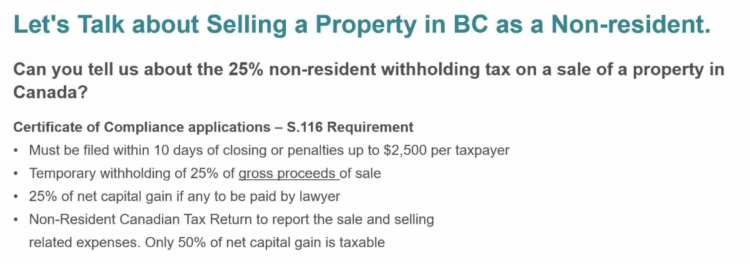selling property in BC non-residents
