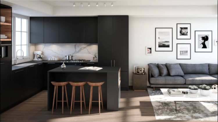 Rendering of Mason living room in dark tones