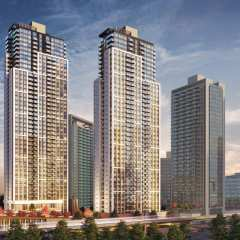 Rendering of Plaza One at King George Hub building in Surrey