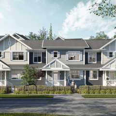 Rendering of front view of Baycrest homes