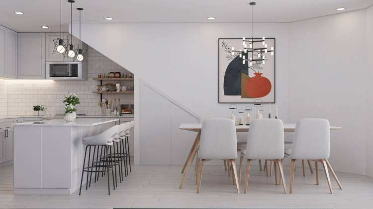Rendering of Vancouver UrbanSquare kitchen and dining area