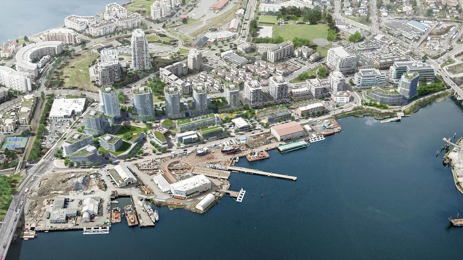 Rendering Of Dockside Green 15-acre Development Aerial View