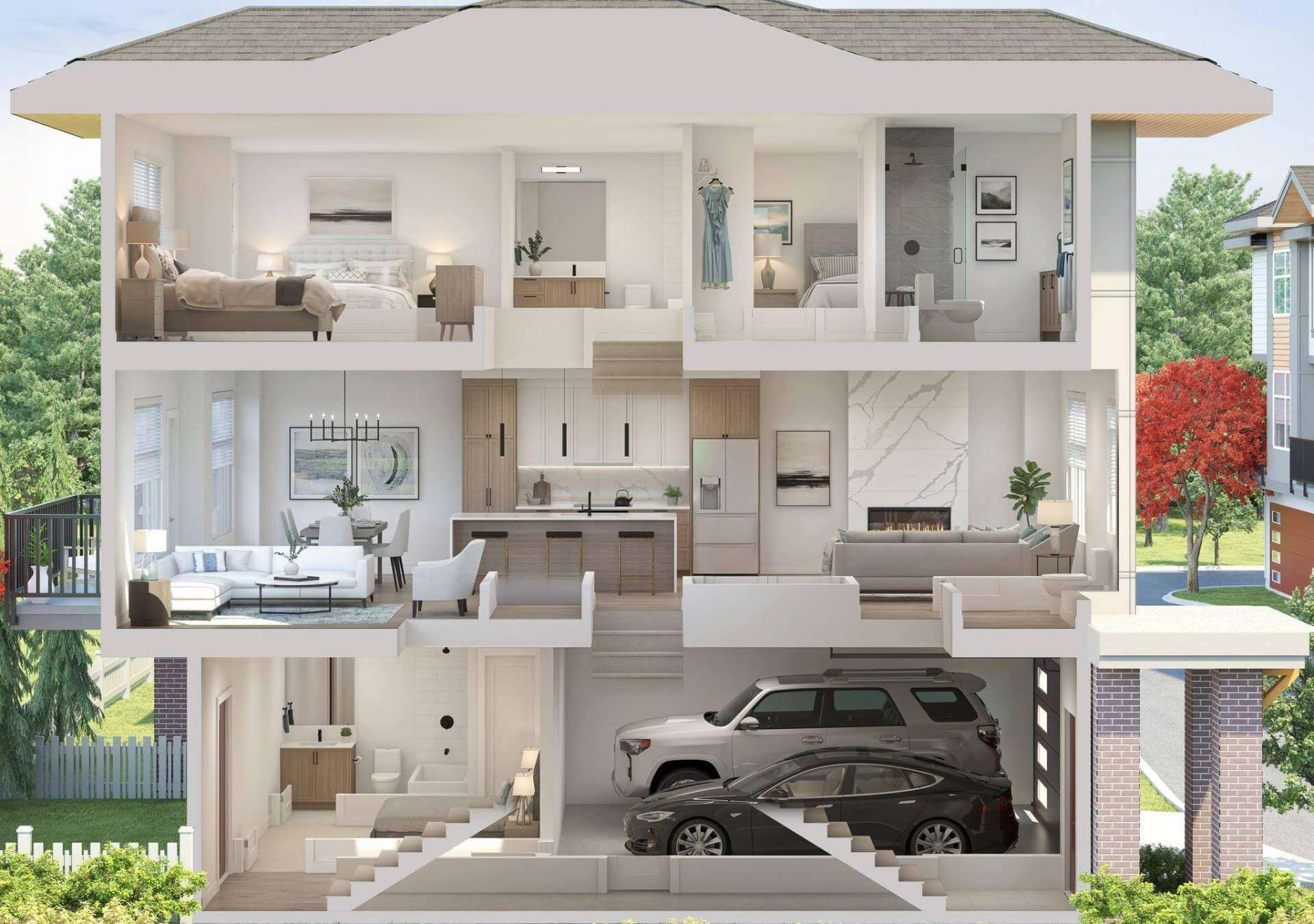 Rendering Of Crofton Townhomes - Dollhouse Layout