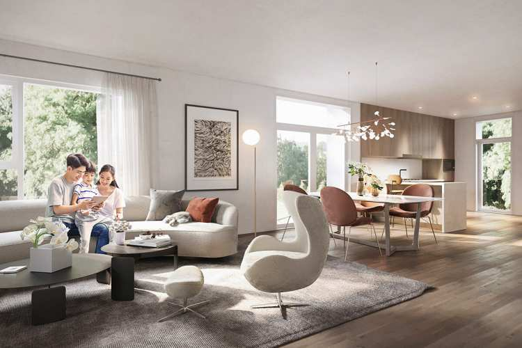 Rendering of West Oak Living Room