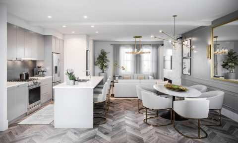 Rendering Of Parallel Kitchen Dining Living