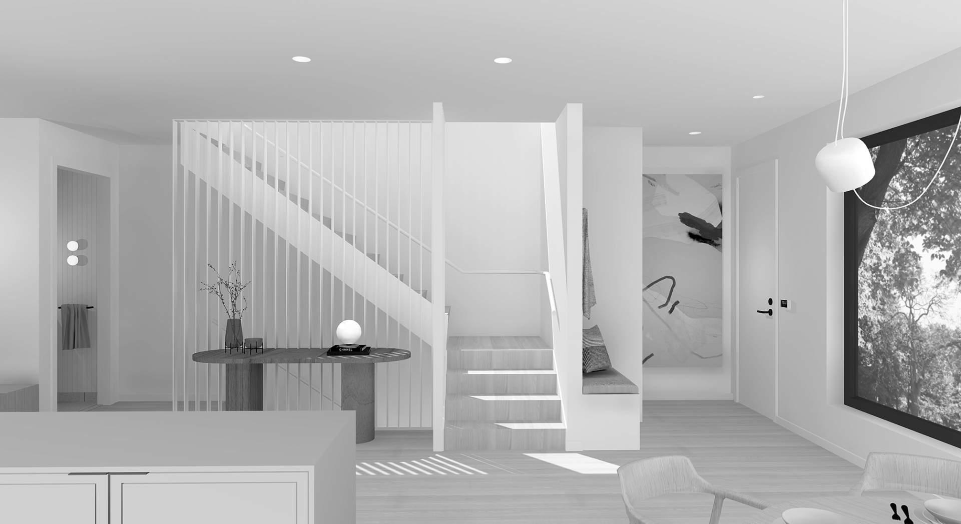 Block 910 - Black & White Photo Of Interior